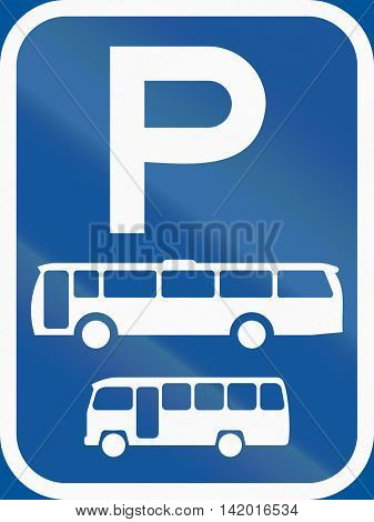 Road Sign Used In The African Country Of Botswana - Parking For Buses And Midi-buses
