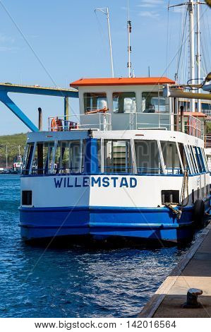 Blue and white ferry in Willemstad Curacao
