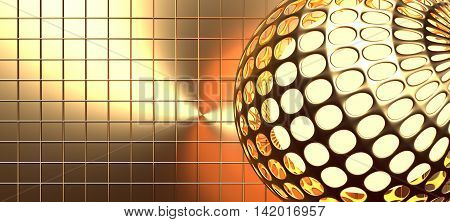 A perforated grid gold sphere. Golden metallic material. 3d rendering