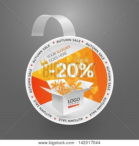 Wobbler design template. Autumn sale event. Vector illustration yellow leaves and box.