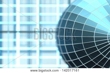 Gridded wireframe sphere on blue background. White lattice. 3d rendering. Swallow depth of focus