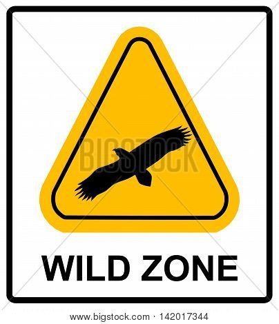 warning sign. danger signal with eagle. vector symbol of bird silhouette in yellow triangle.