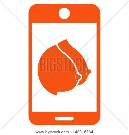 Mobile Erotic Tits vector icon. Style is flat symbol, orange color, rounded angles, white background.