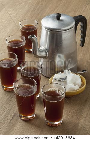 Traditional Moroccan way to drink hot coffee