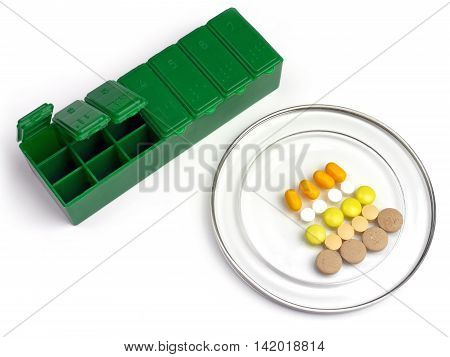 Medication box on a white background - healing practices