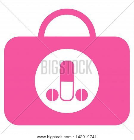 Male Sexual Toolbox vector icon. Style is flat symbol, pink color, rounded angles, white background.