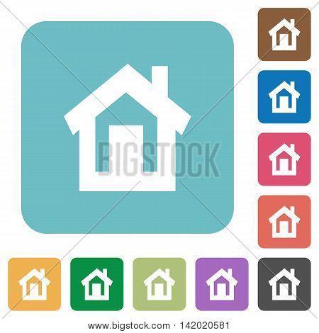 Flat home icons on rounded square color backgrounds.