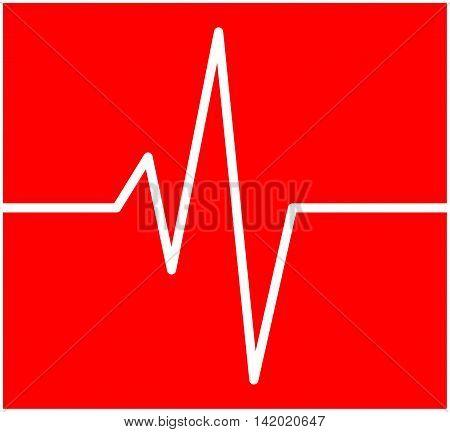 Heart Rhythm, Ecg Line Vector Symbol Icon Design. Beautiful Illustration Isolated On Red Background