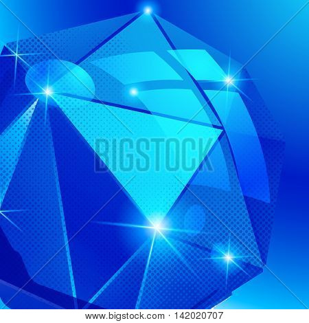 Plastic pixilated blue background with dimensional complicated object synthetic dotted geometric backdrop.