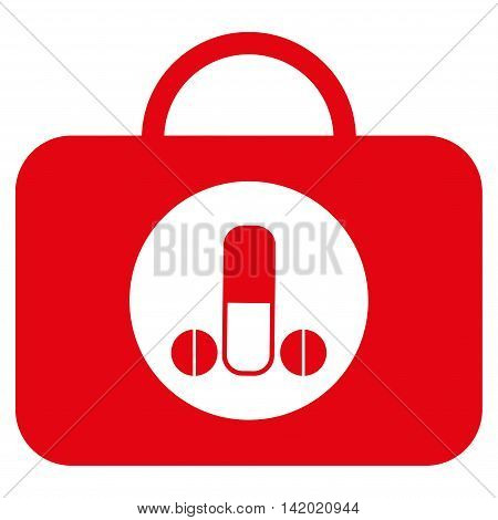 Male Sexual Toolbox vector icon. Style is flat symbol, red color, rounded angles, white background.