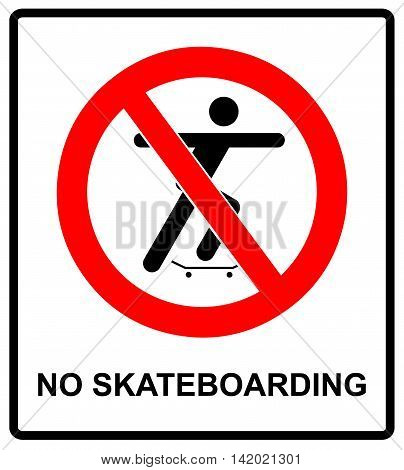 vector illustration of a no skateboarding allowed sign with man silhouette. warning banner for street, outdoors and parks with symbol in red prohibition circle.