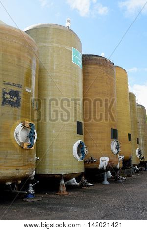 Row of fermentation vessels in cider brewery