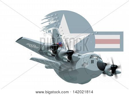 Vector Cartoon Military Cargo plane. Available EPS-10 vector format separated by groups and layers for easy edit