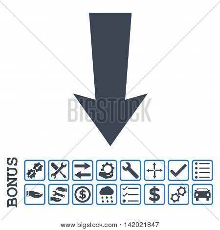 Arrow Down icon with bonus pictograms. Glyph style is flat iconic symbol, smooth blue colors, white background. Bonus style is bicolor square rounded frames with symbols inside.