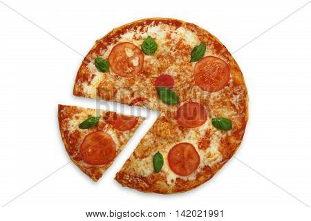 Delicious italian vegetarian pizza Margherita with tomato and cheese, thin pastry crust and one piece cut. Fast food top view isolated at white background