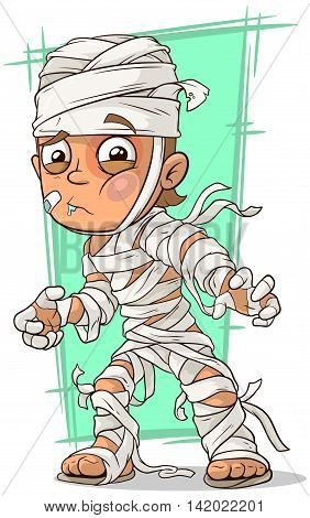 A vector illustration of cartoon disabled boy with bandage