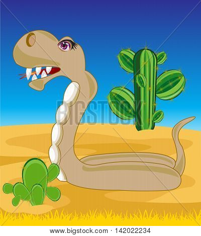 The Reptile snake in desert with cactus.Vector illustration