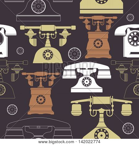 Colorful vintage phone pattern. Illustrations of a big selection of old telephones with dark outline and pastel background colors. Template can be used for design fabric and more creative designs.