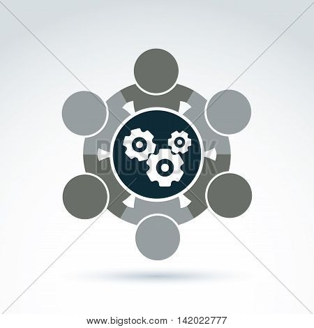 Vector illustration of cog-wheels moving parts and people components of manufacturing process.