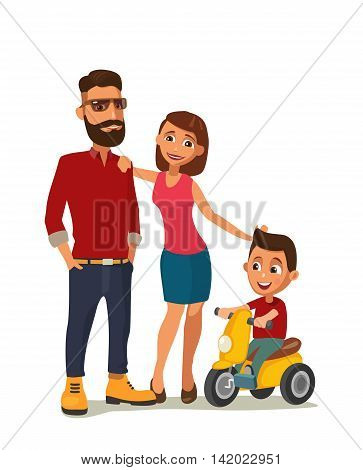 Happy family. Hipster parents and child on a tricycle. Color vector illustration isolated on white background.