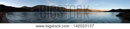 Evening panoramic view of Rara Daha or Mahendra Tal Lake - Rara trek - great himalayan trail - Western Nepal