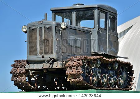 DEDILOVO RUSSIA - AUG 6 2016: Old soviet tractor T-74. One of the most mass Soviet tractors. Produced in USSR from 1962 to 1983. Number of issued tractors 880792 units.