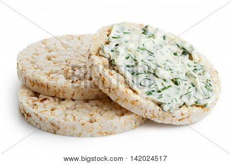 Pile Of Three Puffed Rice Cakes Isolated On White. With Chive And Herb Spread.