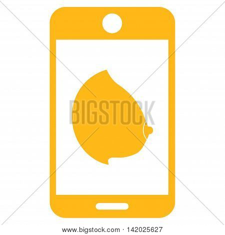 Mobile Erotic Tit vector icon. Style is flat symbol, yellow color, rounded angles, white background.