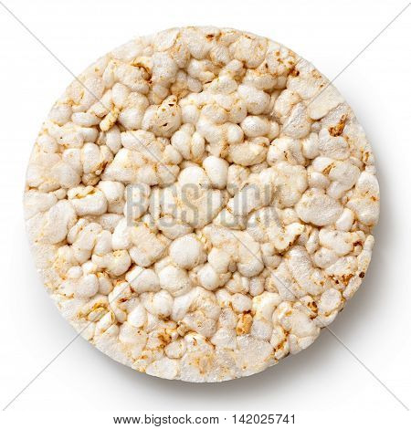 Puffed Rice Cake From Above Isolated On White.