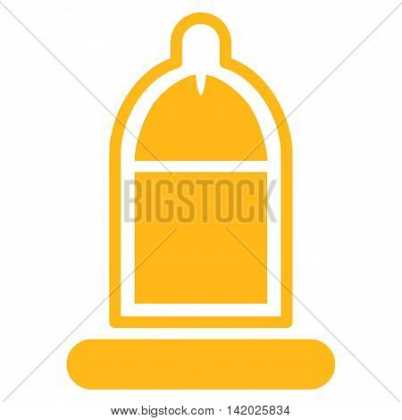 Protected Penis With Condom vector icon. Style is flat symbol, yellow color, rounded angles, white background.