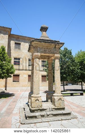 Monument at the Cathedral of Ciudad Rodrigo a border town in Castile and Leon Spain.