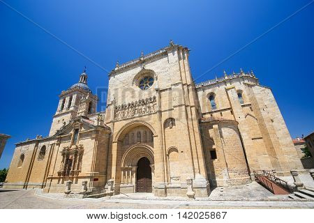 Cathedral of Santa Maria built between the 12th and 14th centuries in Ciudad Rodrigo a border town in Castile and Leon Spain.