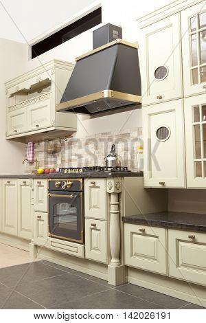 Modern kitchen in the new house, interior design