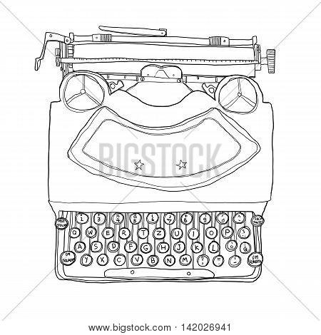 black Typewriter vintage cute line art illustration