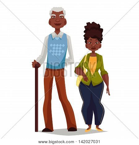 Elderly couple woman and man, cartoon comic illustration isolated on white background, couple, African grandparents happy elderly couple African American grandparents are standing to each other