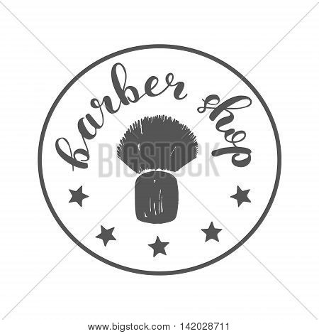 Brush lettering label for barber shop with hand drawn shaving brush. Raster illustration for logo, badge or label, barber shop signboard or store front decoration.
