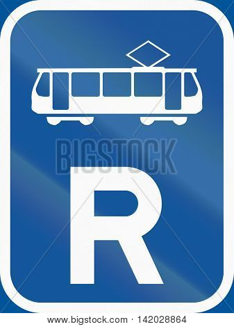 Road Sign Used In The African Country Of Botswana - Reservation For Trams