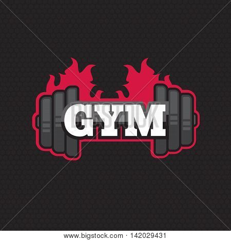 Gym vector logo template. Gym 3d icon. Fitness symbol and emblem eps10