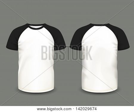 Men's raglan t-shirt in front and back views. Vector template. Fully editable handmade mesh. eps 10
