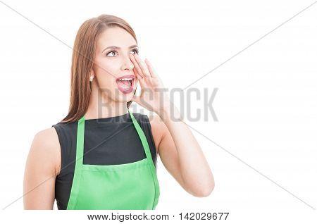 Market Seller Calling Or Screaming At Someone