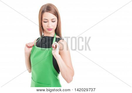 Young Saleswoman Getting Ready For Work