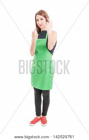 Beautiful Young Employee Holding Fingers Crossed