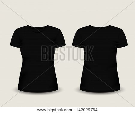 Women's black t-shirt short sleeve in front and back views. Vector template. Fully editable handmade mesh. eps 10