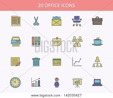Set of office icons for web or UI design. Sheets of paper for copy and scissors for cut, envelope or bag for paste, chair and printer, cup of steaming coffee and garbage can, calendar and chart, clock and vase