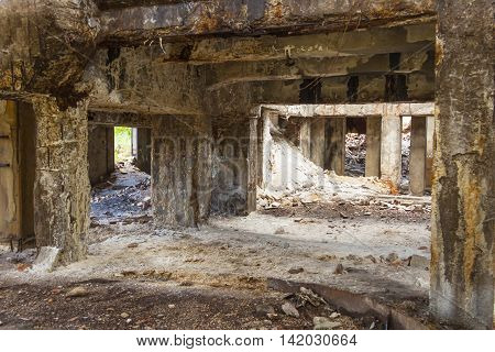 Interior of old abandon hall in Kalety - Paperworks. Poland Silesia province.