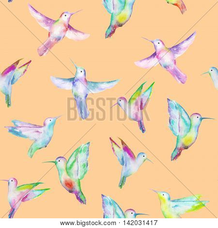 Seamless pattern of colored colibri, hand painted in a watercolor on a peach background