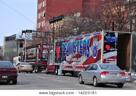 Teamsters Trucks Parked in Madison, WI