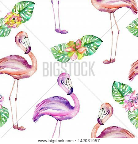 Seamless pattern with the flamingo and exotic flowers, hand painted in watercolor on a white background