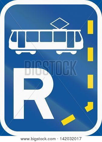 Road Sign Used In The African Country Of Botswana - Start Of A Reserved Lane For Trams