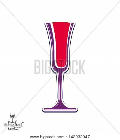 Classic vector champagne goblet with bubbles alcohol beverage theme illustration.